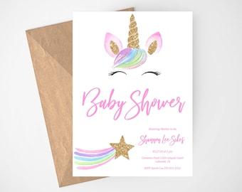 Unicorn Baby Shower Invitation, Unicorn Party, Magical, Floral Unicorn, Girl Baby Shower, Baby Shower Invites, Magical Unicorn, Gold Glitter