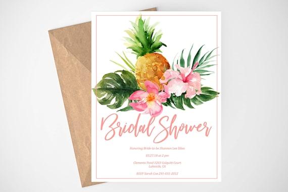Luau bridal shower invitation hawaiian invitation pineapple etsy image 0 filmwisefo