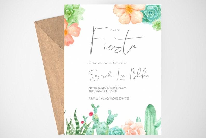 Fiesta Bachelorette Party Invitation Succulents, Printable Bachelorette Party Invitation Printable Invitation Fiesta Party Invitation