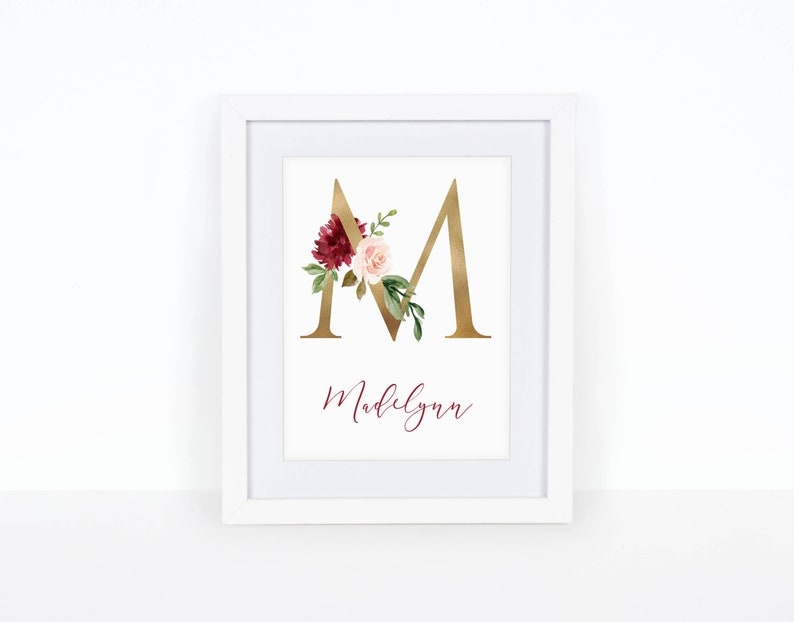 5a47d340e424f Boho Nursery name, Baby shower gift, Baby girl wall art, Personalized  prints, Burgundy and gold, Floral initial, Custom name art, Rustic