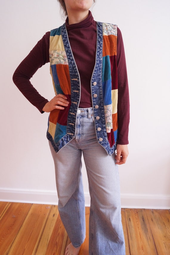 Vintage Patchwork denim velvet waistcoat from the