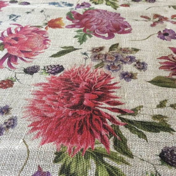 pattern linen fabric by the yard for blouses 100/% linen printed fabric coats,curtains skirts Digital print floral linen dresses,pants