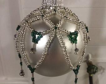 Handmade bead covered Christmas ornament---Xmas ornament