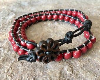 Red Double Wrap Beaded Ladder Bracelet