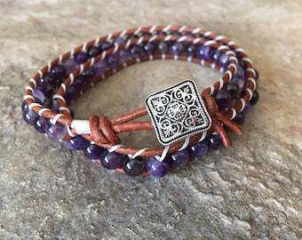 Majestic Purple Double Wrap Beaded Ladder BraceletLadder Bracelet