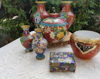 Asian Cloisonne Floral Vase Set