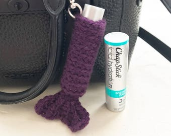 Crochet Mermaid Tail Chapstick Cozy, Mermaid lip balm holder