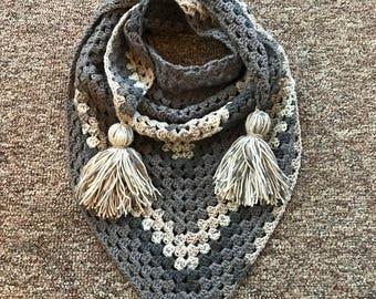 Triangle scarf, crochet scarf, shawl, triangle shawl