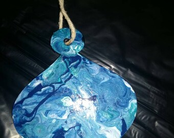 Recycled acrylic pour painted paper christmas tree decorations