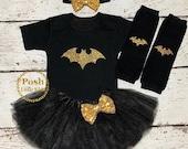 Batgirl Birthday girl outfit,4-pcs Set Batgirl outfit ,Batman tutu dress,Batman bodysuit,batman shirt,Halloween baby outfit,Batmen costum