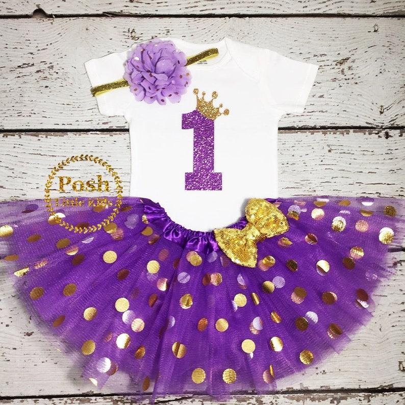 Purple and gold birthday smash cake BIRTHDAY TOP,Baby girl birthday outfit,polka tutu Birthday girl outfit,Purple/&Gold  Birthday outfit