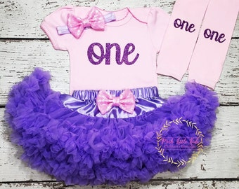 Birthday girl outfit, pink and lavender Birthday Girl Outfit,Lavender pettiskirt, One birthday outfit, 1st Birthday girl smash cake outfit,