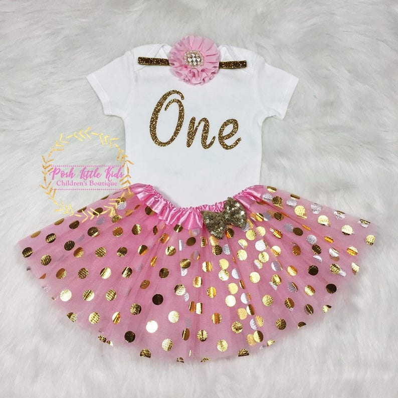 Pink/&Gold One Birthday outfit Birthday girl outfit Pink and gold,Baby girl birthday outfit,polka tutu Pink and gold birthday smash cake