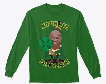 f53c47202 Kiss me I'm Irish Mike Tyson funny St Patrick's Day novelty Long Sleeve  Shirt
