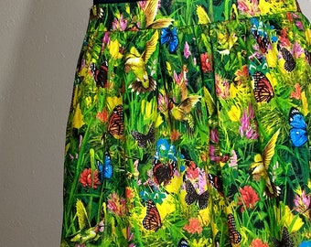 hummingbird,butterfly skirt,casual skirt,boho skirt,hippie skirt,handmade cotton skirt,women size medium casual,party skirt,,ready to ship