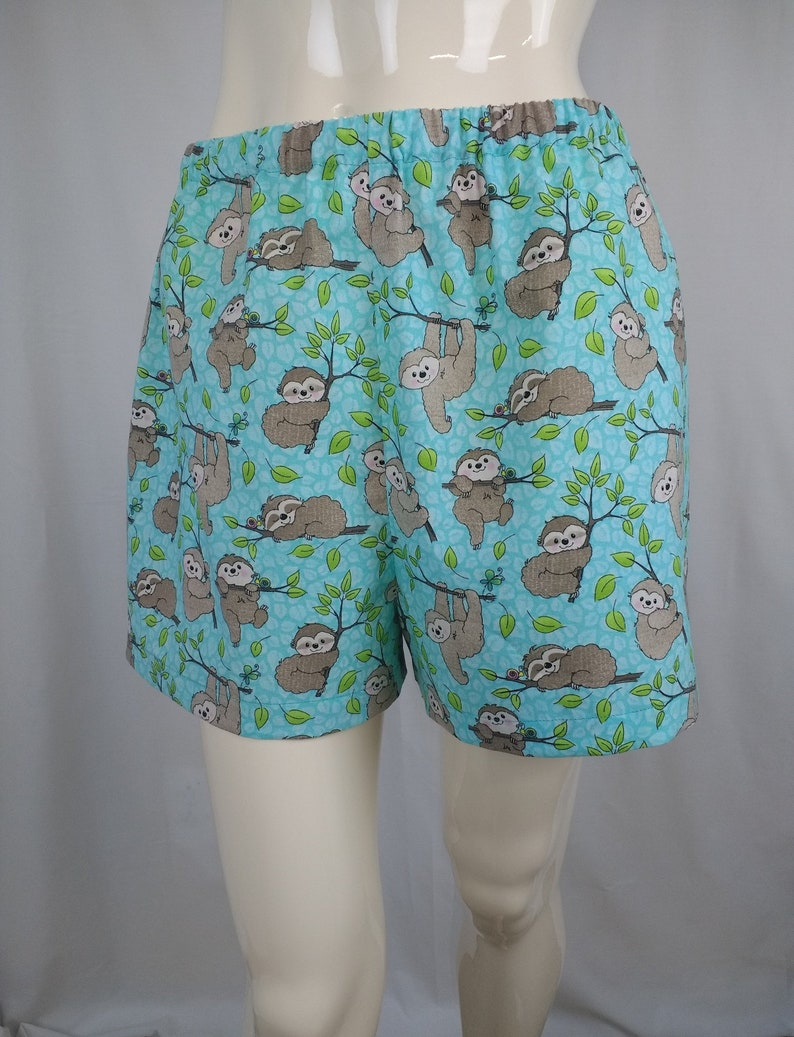 7fa53b7b3e7 sloth pajama bottoms, cotton animal print sleep shorts, elastic waist  casual summer shorts, women size small lounge wear, handmade USA