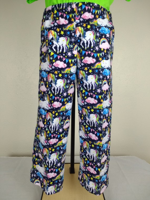 83bdd81df11bb unicorn pajama pants kids blue unicorn and rainbow printed | Etsy