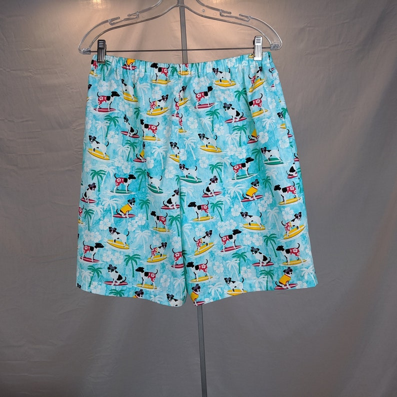 7acee6b1350 fun print pajama shorts, dogs wearing sunglasses surfboarding, men's cotton  boxers, size medium, surfer lovers gift, skirtinonby