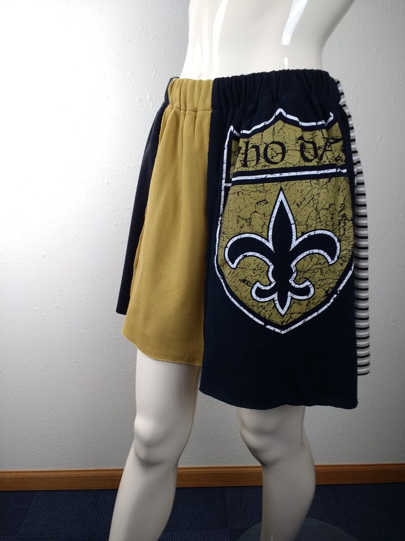 reputable site 2f971 bb94b New Orleans Saints upcycled recycled football fashion clothing women's  handmade retro football skirt,NOLA Saints apparel,Saints fan gifts