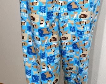 dog print pajama pants,lounge pants,sleep pants,women size small,cotton flannel,elastic waist,handmade USA funny printed jammie,dorm pants