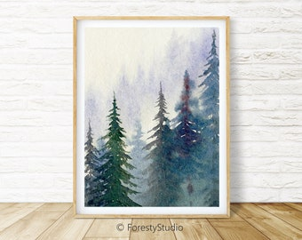 Forest Printable Wall Art_Watercolor Painting_Nordic Prints_Evergreen Trees_Digital Print Download_Foggy Forest_Misty Forest_Forest Print