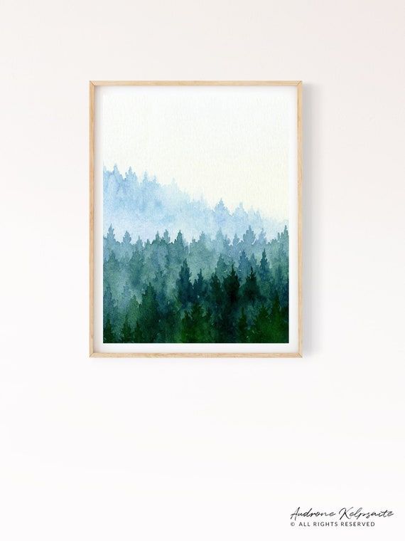 Forest Printable Wall Art Watercolor Evergreen Trees | Etsy