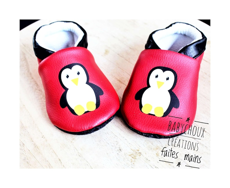 9b3e27ba000d Faux leather Penguin baby booties slippers soft red baby