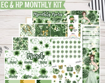 St. Paddy's March Monthly Kit | Planner stickers for Erin Condren Life Planner, EC Monthly 8.5x11,Happy Planner, Plum Paper Planner