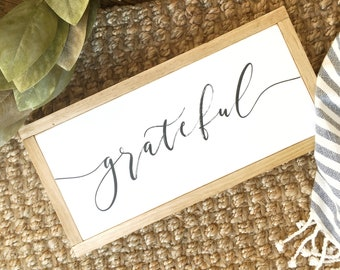 "25% off SCRATCH & DENT 8""x17"" Grateful Wood Framed Sign Ready to Ship"