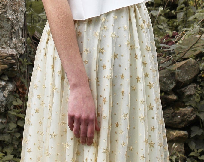 Celestial wedding skirt, Bridal skirt with stars, Whimsical unique bridal skirt for untraditional bride, Sparkle stars skirt, Boho wedding