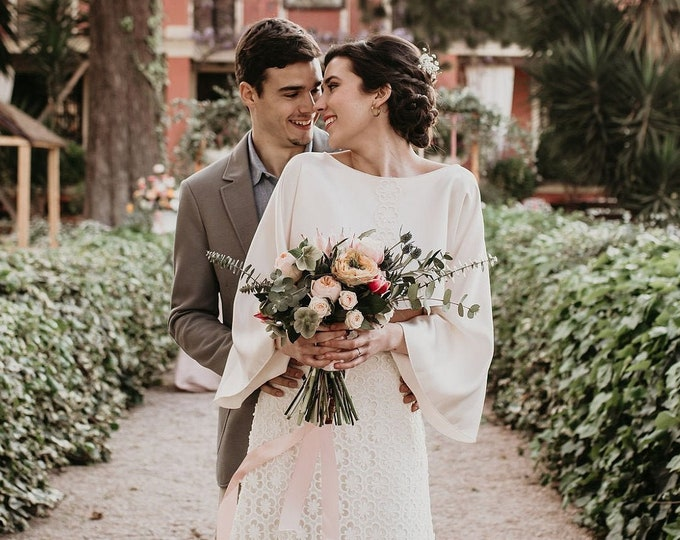 Boho Wedding Dress Long Sleeve, Bohemian Wedding Dress, Hippie Wedding Dress, Long Sleeve Wedding Dress Boho Chic, Lace Rustic Autumn Bridal