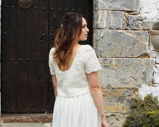 Lace Crop Top Bridal, Wedding Crop Top, Short Sleeve Top, Bridal Separate Top, Wedding Lace Top, Boho Wedding Dress, Open Back Lace Crop Top