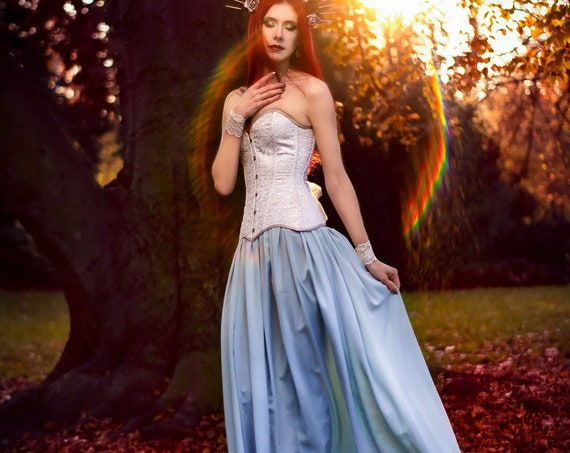 Blue Wedding Dress, Fantasy Elven Wedding Dress, Pagan Fairy Bridal Gown, Silver Avalon Dress, Elf Dress Costume, Fantasy Dress Corset Blue