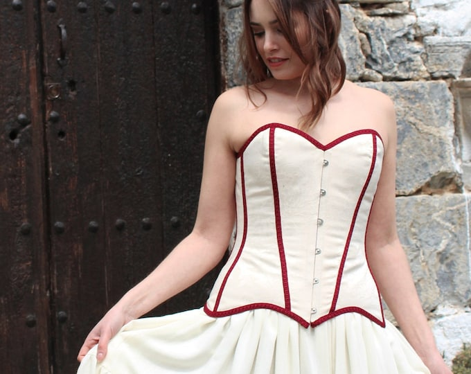 Light beige bridal corset top for gipsy hippie wedding dress, Wedding overbust corset, Hippy festival wedding, Steel boned corset for bride