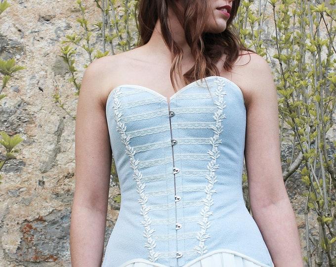 Overbust corset top for sky blue bridal dress, Boho wedding corset Strapless corset top for bride Light blue corset Boho fairy wedding dress
