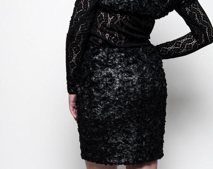 Faux fur pencil skirt - Black mini skirt - Elegant goth mini skirt - Elegant office skirt - Winter skirt for women - Gift for her