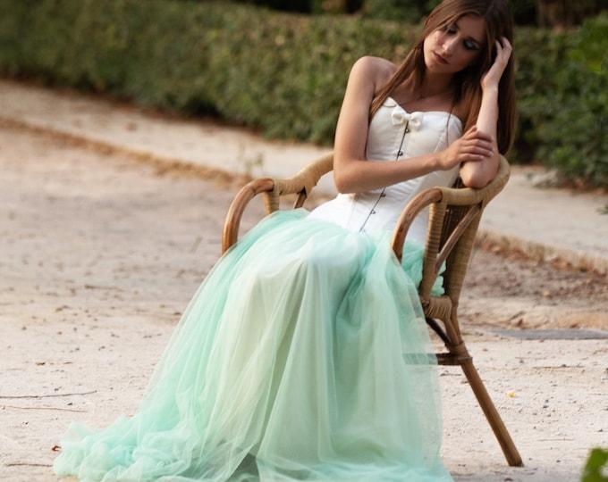 Mint Green Wedding Skirt, Boho Green Wedding Dress, Pagan Bridal Separates, Mint Green Tulle Skirt, Fantasy Wedding, Forest Fairy Wedding