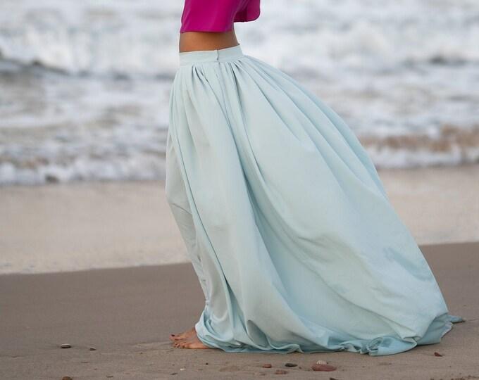 Dusty blue wedding skirt, Bridal separates skirt for beach wedding, Loose maxi skirt, Boho elopement long skirt, Grey blue tropical wedding