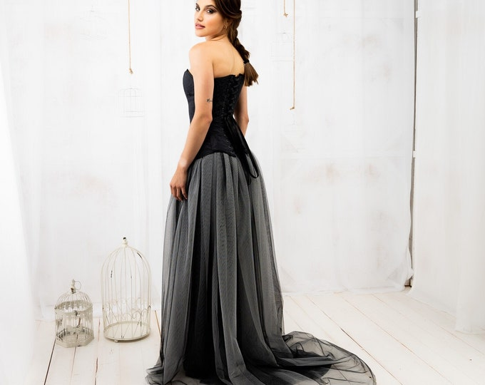 Gothic wedding dress, Black and white bridal dress, Dark witch corset bridal gown, Ombre wedding gown, Alternative reception dress for bride
