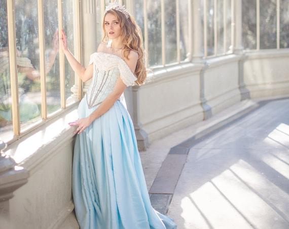 Blue Wedding Dress, Fantasy Wedding Gown, Prom Dress, Bridal Corset Dress, Cinderella Corset Gown, Quinceanera Dress, Medieval Ball Gown
