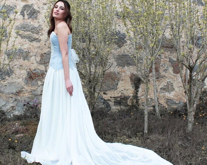 Elvish wedding dress, Romantic fantasy gown, Engagement blue bridal dress, Fae wedding gown, Blue and white elven dress, Elf wedding dress