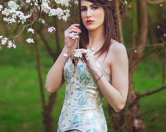 Fairytale Wedding Blue Corset, Golden Pale Bridal Corset Top, Medieval Wedding, Cream and Blue Overbust Corset, Full Bust Top Corset, Viking