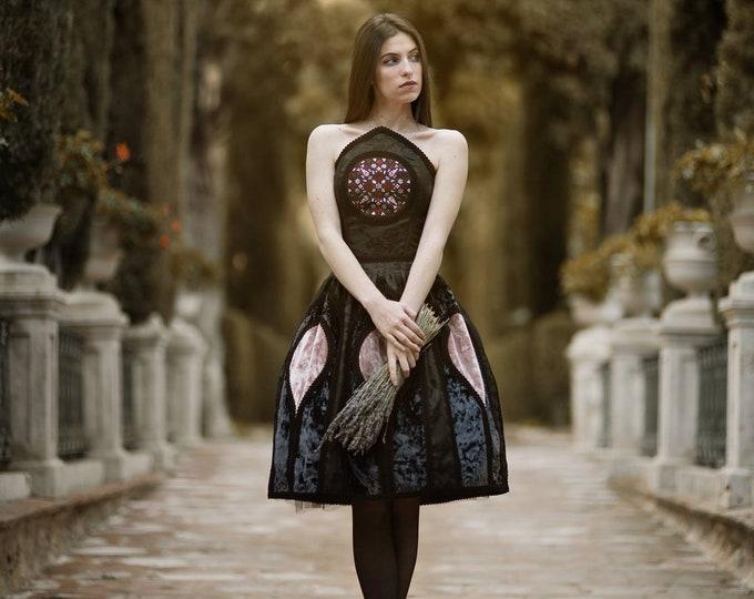 Dark couture dress, Luxury gothic dress, Dramatic dark wedding dress, Haute goth corset dress, Velvet fantasy short bridal dress, Halloween
