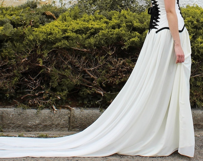 Ivory chiffon floor length skirt with train, Soft and floaty wedding skirt separates, Minimal boho skirt for bride elopement into the woods