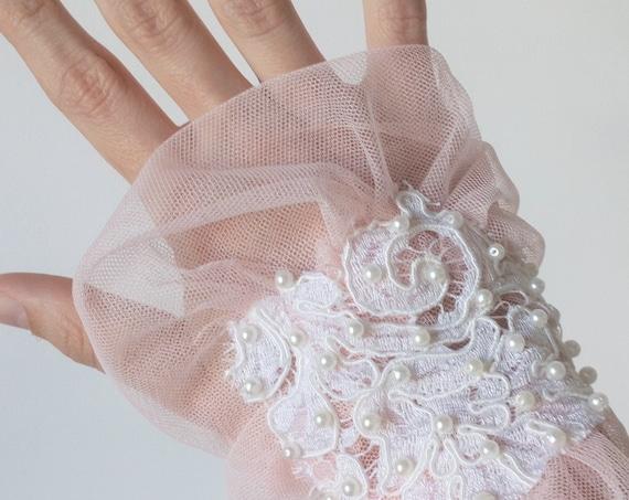 Bridal Wrist Cuffs, Lace Wrist Cuff, Princess Cuff Bracelet, Fairy Wrist Cuff, Victorian Wedding, Pink Tulle Wrist Cuff, Pearls Wrist Cuff