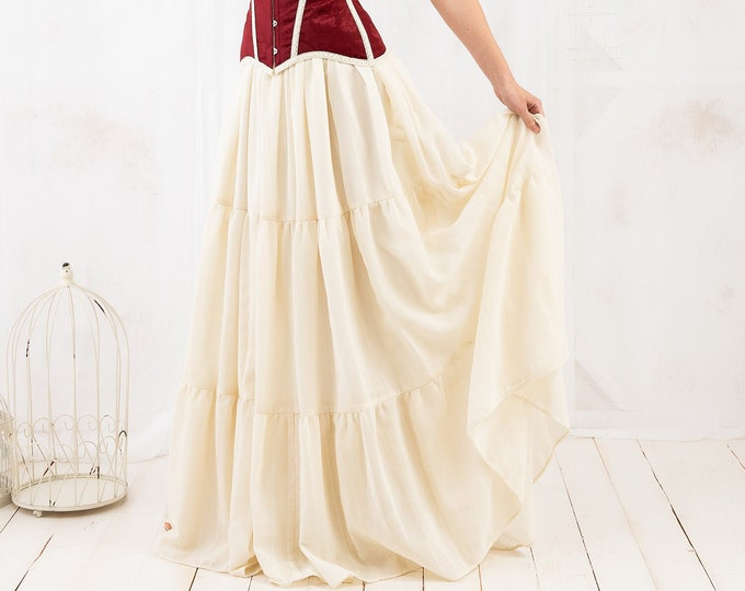 Rustic ball maxi skirt for victorian prairie costume dress, Cottagecore style long skirt with ruffles, Bridal skirt for steampunk wedding