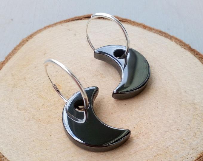 Moon Earrings Dangle Silver, Hematite Hoop Earrings, Witchy Goth Jewelry, Hoop Moon Earrings, Celestial Earrings Silver, Occult Jewelry