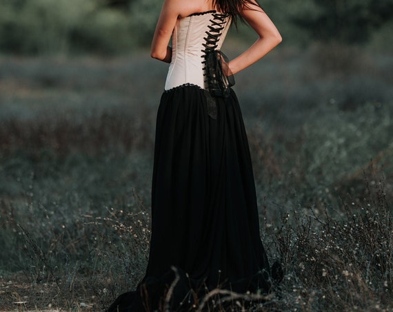 Black Wedding Dress, Steampunk Corset Dress, Gothic Wedding Dress, Fantasy Wedding, Corset Wedding Gown, Goddess Dress, Dark Queen Dress