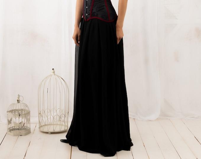 Black maxi skirt for goth wedding dress, Chiffon long skirt for dark elf costume for woman, Black formal gown for reception, Halloween skirt