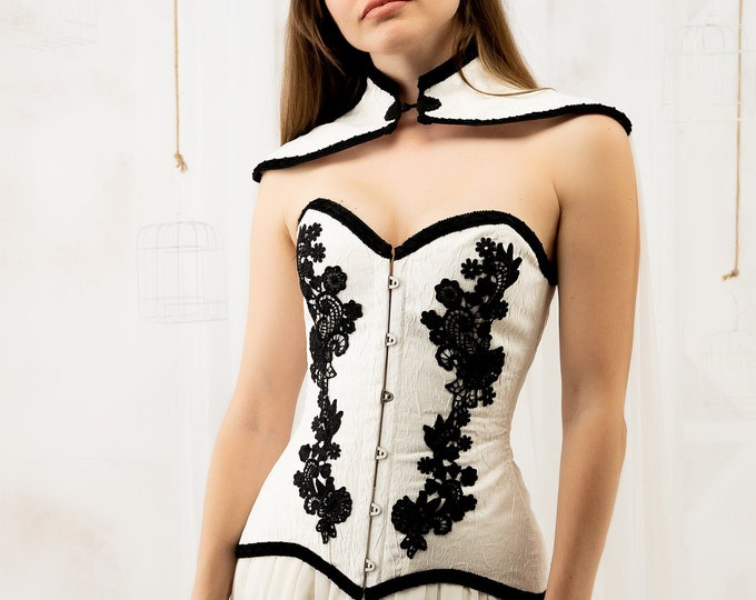 White corset with black lace applique for vampiric masquerade ball gown, Dramatic gothic wedding overbust corset, Haizea couture corset top